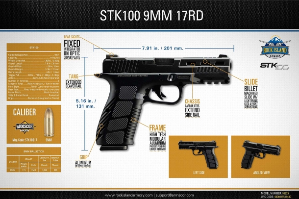 The technical specifications for the new Rock Island Armory STK100 9mm pistol