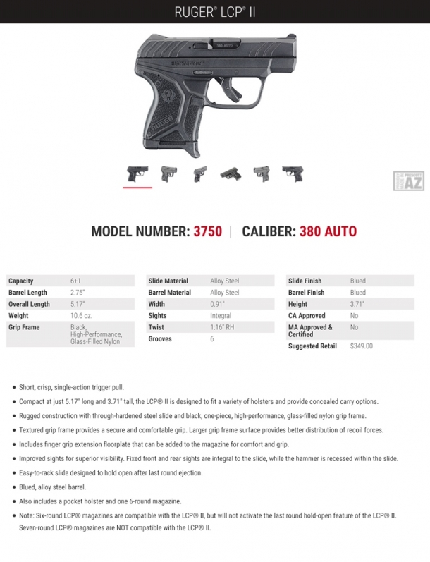 The technical specs flyer for the Ruger LCP II pistol