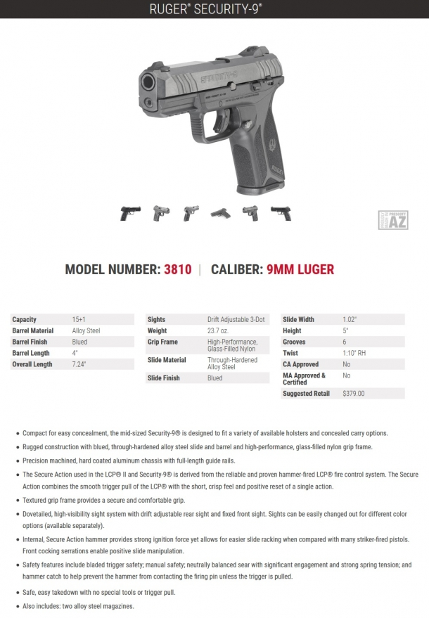 The technical specs of the new Ruger Security-9 pistol