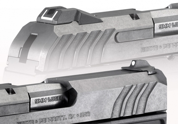 The Ruger Security-9 features a dovetailed, drift adjustable rear sight and fixed front sight