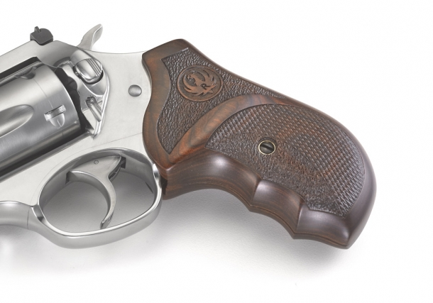 The Ruger SP101 Match Champion revolver comes with a custom Altamont hardwood grip