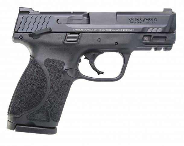 "The Smith & Wesson M&P M2.0™ 3.6"" Compact pistols are also available with an ambidextrous manual frame-mounted thumb safety"