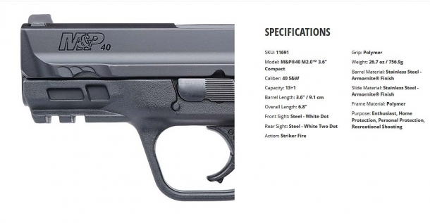 "Specifications for the Smith & Wesson M&P M2.0™ 3.6"" Compact pistol, .40 caliber"