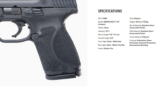 "Specifications for the Smith & Wesson M&P M2.0™ 3.6"" Compact pistol, 9mm caliber"