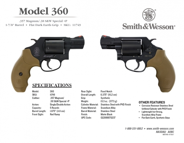 The technical specs flyer for the Smith & Wesson Model 360 revolver