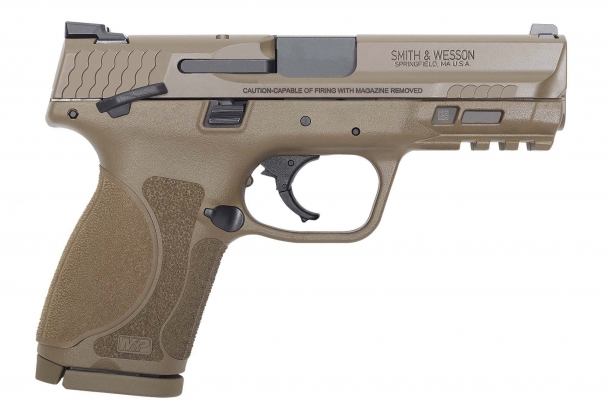 Smith & Wesson M&P M2.0 Compact Flat Dark Earth pistol with thumb safety