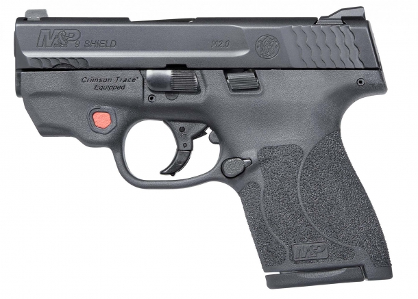 The Smith & Wesson M&P Shield M2.0 is also available with an integrated Crimson Trace red- or green-light laser pointer, activated by a prominent rubberized, ambidextrous red button located on the frame just in front of the trigger guard