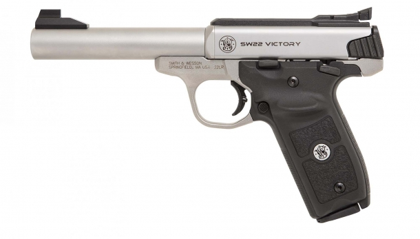 The new Smith & Wesson SW22 Victory Target Model pistol seen from the left side