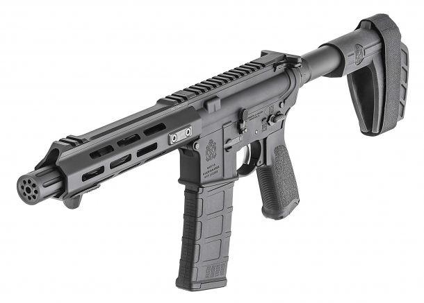 The SAINT AR-15 pistol features a Springfield Armory-patented M-LOK aluminum free-float handguard with proprietary locking tabs and forward hand stop
