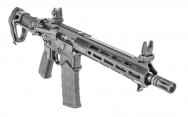 The carbine-length gas system is protected by a free-float, M-LOK aluminum handguard
