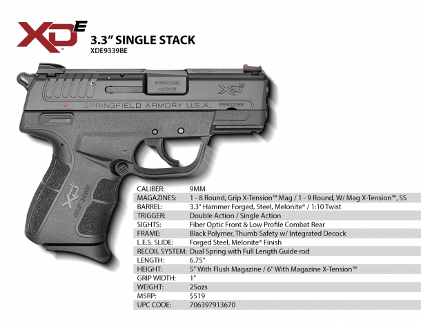 The technical specs of the Springfield XD-E pistol