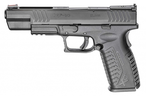 "The 10mm Springfield Armory XD(M) 5.25"" pistol seen from the left side"