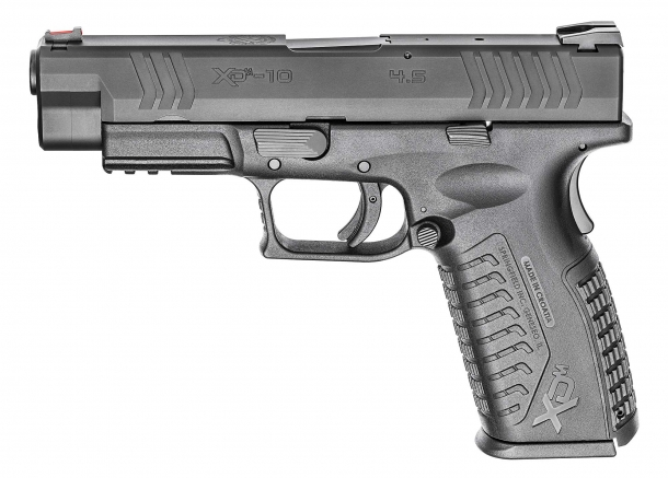 "The new 10mm Auto Springfield XD(M) 4.5"", seen from the left side"