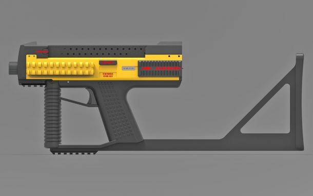 The Tecnostudio Engineering's Bullpup Pistol TSE with a fixed buttstock