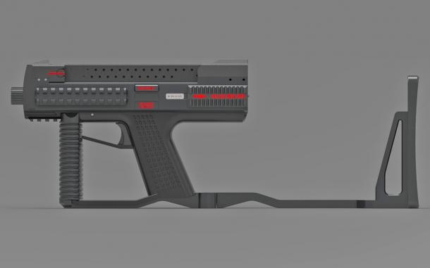 The Tecnostudio Engineering's Bullpup Pistol TSE with a folding stock, open