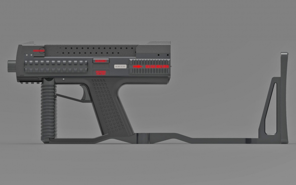 The Tecnostudio Engineering's Bullpup Pistol TSE with a folding stock, open