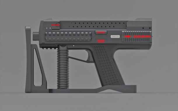 The Tecnostudio Engineering's Bullpup Pistol TSE with a folding stock, closed
