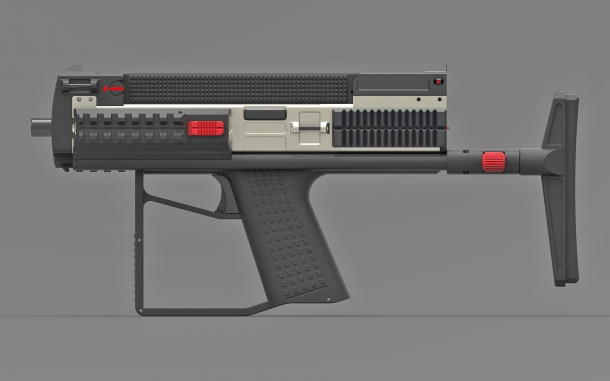 The Bullpup Pistol TSE with a collapsible stock