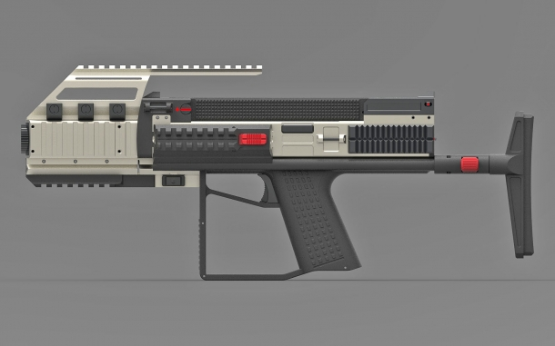 The Bullpup Pistol TSE with a collapsible stock, snap-on suppressor and optics rail mount