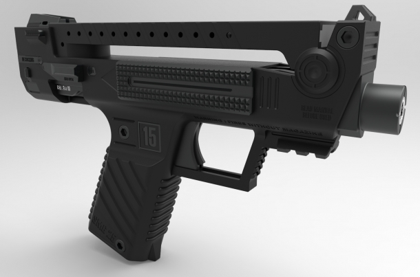 A CAD drawing of the ambitious bullpup pistol engineered by Tecnostudio of Italy