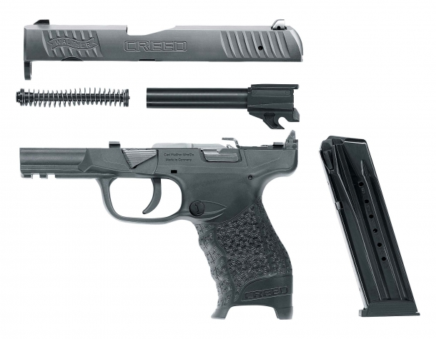 Walther's new Creed pistol, field-stripped