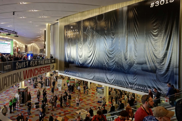 The big wall banner used to promote the new Stryk B pistol at the main entrance of SHOT Show
