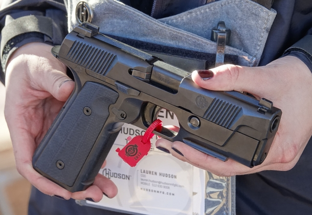 The lines of the Hudson Manufacturing H9 pistol are familiar and yet peculiar