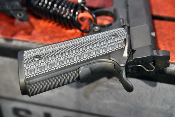 A detail of the VZ Alien grips on the STI H.O.S.T. pistol