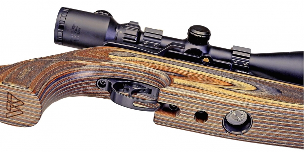 Vista inferiore dell'arma: sono visibili il manometro e le viti di regolazione dello scatto