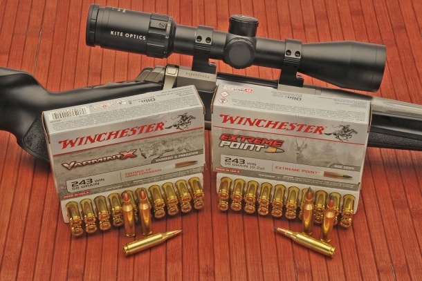 The two .243 Winchester loads used to test the rifle: 58 grains VarmintX Polymer Tip, and the 95 grains Extreme Point