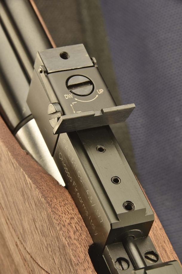 The rifle comes with standard fully adjustable rear sight