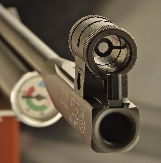 Muzzle view of the barrel, with an option tunnel sight mounted