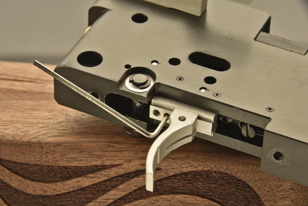 Detail view of the trigger system, fully adjustable