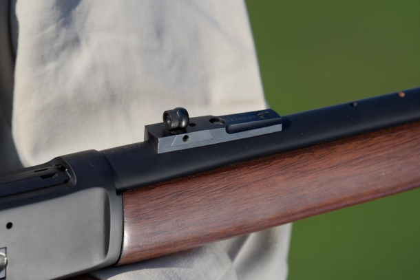 The Skinner rear ghost sight, from which this Chiappa specific rifle model takes its name