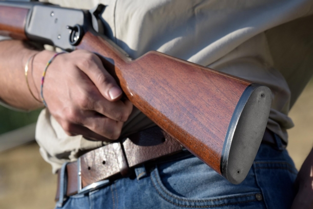 "The ""shotgun style"" stock of the rifle"