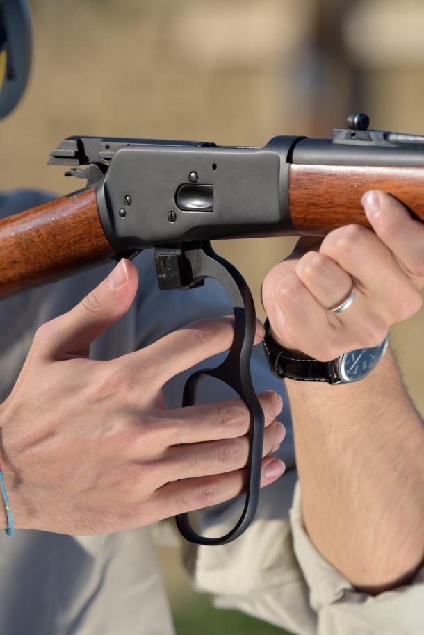 The lever-action... in action. The hand loop is quite comfortable