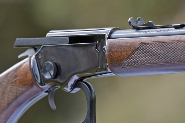 The polished black chrome finish receiver of the Chiappa Firearms LA322 Deluxe rifle