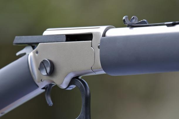 The matte white finish receiver of the Chiappa Firearms LA322 Kodiak Cub rifle