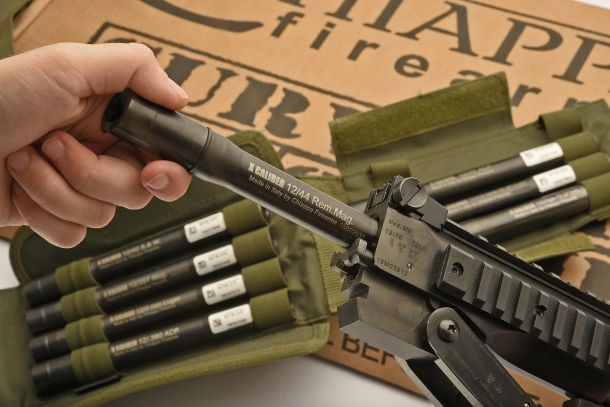 Insert the adapter into the 12 gauge barrel