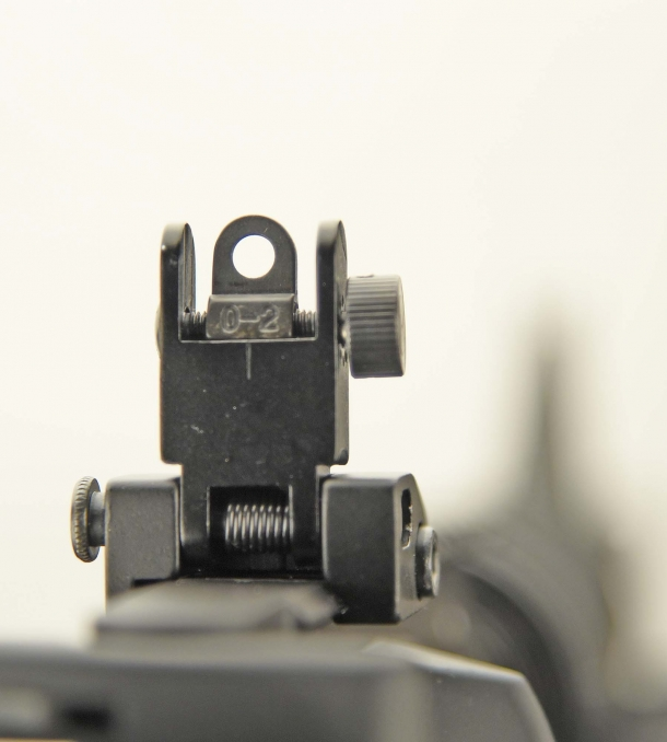 The Colt original flip-up adjustable rear sight (here with the large hole set)