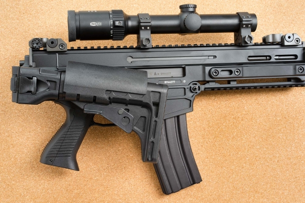 The stock of the CZ 805 BREN S1 rifle folds sideways for transport and can be extended to match the build of any shooter