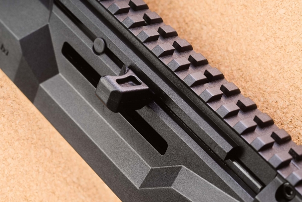 The charging handle of the CZ Scorpion EVO 3 is reversible