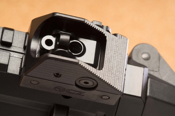 The adjustable rear sight of the CZ Scorpion EVO 3