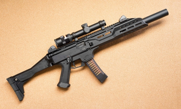 A long-barrel version of the CZ Scorpion EVO-3 S1 semi-automatic carbine, as distributed on the north American market