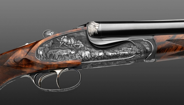 """Fanzoj """"The Great Migration"""" Express Rifle: view of the engraving on the right plate"""