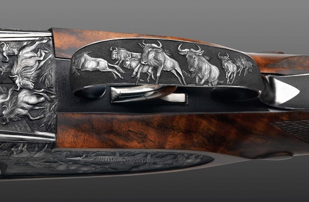 """Fanzoj """"The Great Migration"""" Express Rifle: detail of the engraving on the trigger guard"""