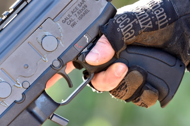 A view of the pistol grip