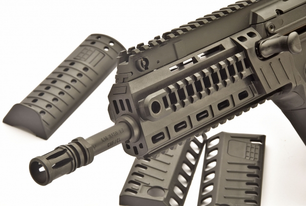 The handguard rails are exposed through the simple removal of the polymer covers