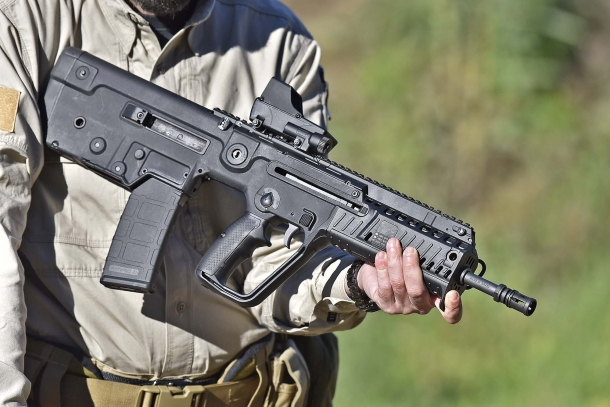 Right side of the X95 semi-automatic rifle: the ejection port is located on this side, just above the magazine well