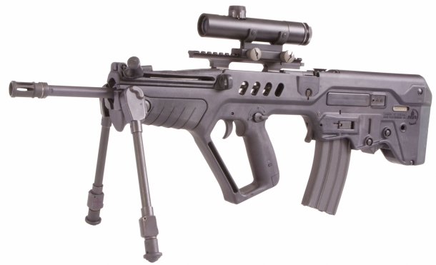 "The Tavor Sniper STAR designated marksman rifle, featuring a 460 mm / 18.1"" barrel"
